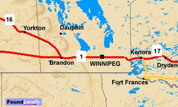 Manitoba Map on TransCanadaHighwaycom