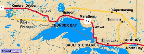 Ontario Map of the TransCanada Highway