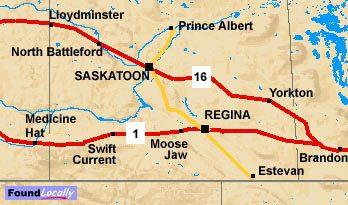 Saskatchewan Map of the TransCanada Highway
